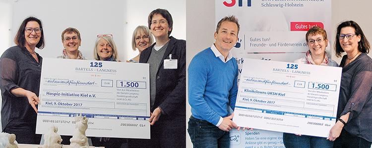 3.000 Euro für UKSH Klinik Clowns und Hospiz-Initiative Bartels-Langness-Mitarbeiter überreichen Spendenschecks
